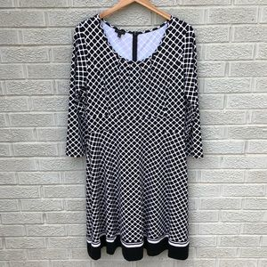 Talbots Geometric Print 3/4 Sleeve Dress